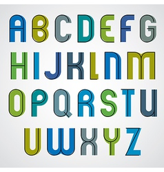 Colorful binary cartoon font rounded upper case vector
