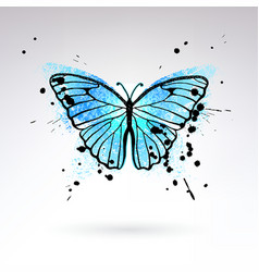 decorative bright blue butterfly vector image