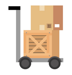 delivery cart handle with boxes wooden vector image