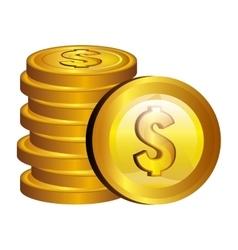 Dollar money gold icon vector
