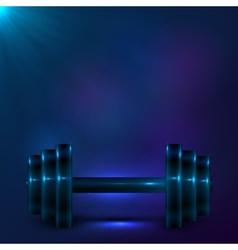 Dumbbell on night dark blue background vector image