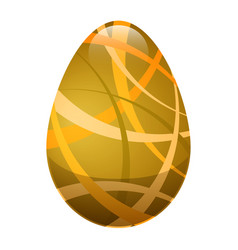 Easter egg with ornamental lines in golden colors vector