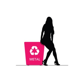 Girl on recycle metal trash can vector