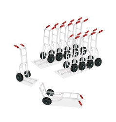 Group of hand truck or dolly on white background vector