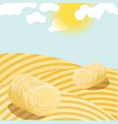 Hay bales on rural field sunny day vector