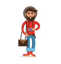hipster tourist with camera cartoon character vector image vector image