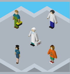 isometric human set of lady male plumber and vector image