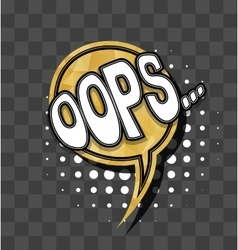 Lettering oops gold sparkle comic text vector
