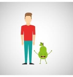 man with cartoon fruit pear vector image
