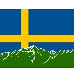 Mountains with flag of Sweden vector image vector image