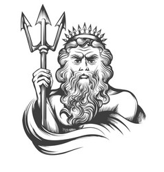 neptune with trident vector image