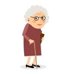 Old woman with cane vector