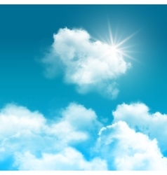 Realistic blue sky with clouds composition vector