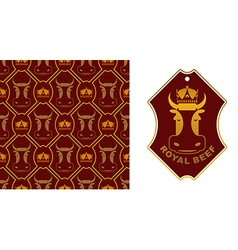 Royal Beef logo Cow in crown Excellent quality vector image vector image