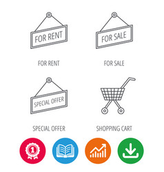 Shopping cart for rent and special offer icons vector