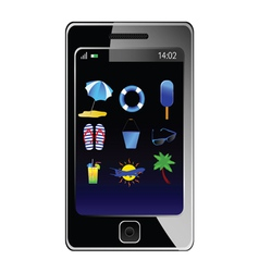 stuff for the beach on the phone vector image vector image
