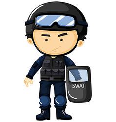 Swat in protection uniform vector