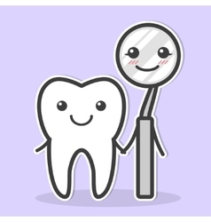 Tooth and dental mirror are friends vector