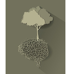 Tree with brain paper cut vector
