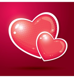 Two red hearts with knitted pattern vector