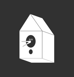 White icon on black background bird house vector
