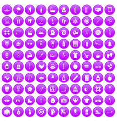100 fit body icons set purple vector
