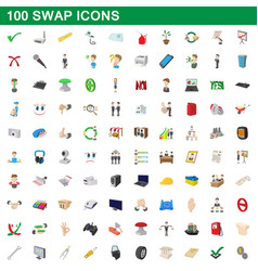 100 swap icons set cartoon style vector