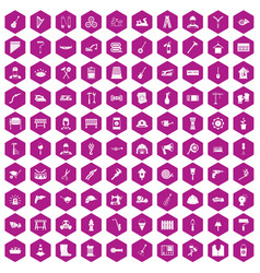 100 tools icons hexagon violet vector