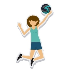 Person figure athlete volleyball sport icon vector