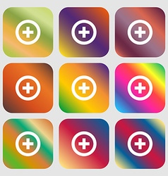 Plus positive icon nine buttons with bright vector