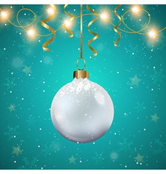 White christmas decoration and golden ribbons vector