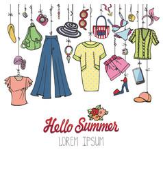 Summer fashionwoman colorful vacation wear vector