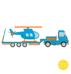 cartoon transport lorry with helicopter vector image