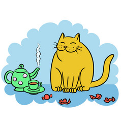 Tea with the orange cat vector