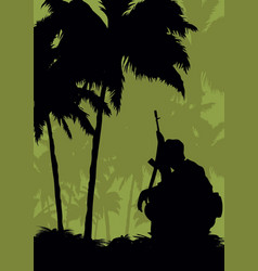 A soldier on a mission in the jungle vector