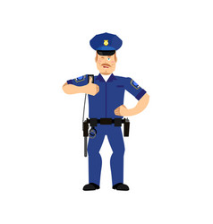 Police officer winks policeman thumbs up cheerful vector