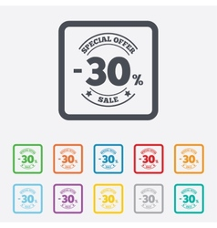 30 percent discount sign icon sale symbol vector