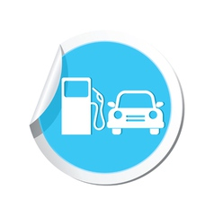 Petrol station and car blue label vector
