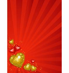 gold Valentine's disco hearts vector image