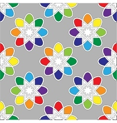 Flower seamless pattern bright colors vector