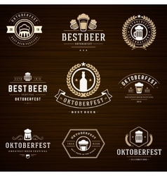 Beer festival oktoberfest labels badges and logos vector