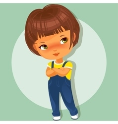Cute little girl with hands crossed vector
