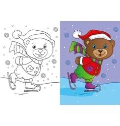 Coloring book of cute teddy bear skates vector