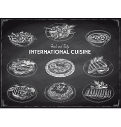 hand drawn sketch international cuisine set vector image