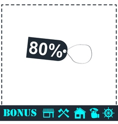 80 percent discount icon flat vector