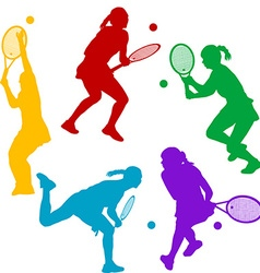 Colorful tenis player silhouettes vector