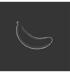 Banana drawn in chalk icon vector