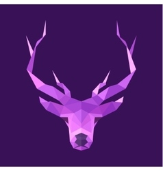 Horned animal deer head logo low poly vector