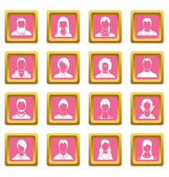 avatars set icons pink vector image