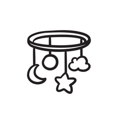 Baby bed carousel sketch icon vector